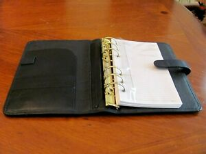 Hartmann Business Black Leather 6 Ring Binder W note Pad Credit Card