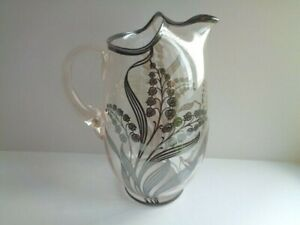 Sterling Silver Overlay Glass Water Cocktail Pitcher Bluebells
