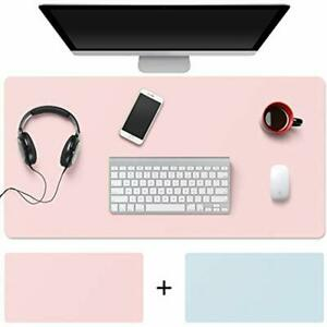 Desk Pad 32 quotx16 quot Pu Leather Blotter Dual side Use Mouse blue pink