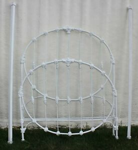 Antique Ornate Cast Iron Wedding Ring Design Floral Castings Double Bed W Rails