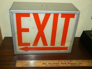 Vintage Metal Painted Acrylic Glass exit Left boxed Sign Industrial