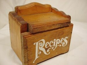 Vtg Thick Wood Recipe Box Lid Fits 3 X 5 Recipe Cards Handwritten Typed Freeship