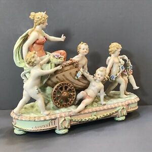 Xlg German Porcelain Woman Carriage Pulled Putti Children Pulling Flowers Mint