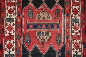 Vintage Geometric Tribal Malayer Hamedan Area Rug Hand Knotted Oriental Wool 4x7
