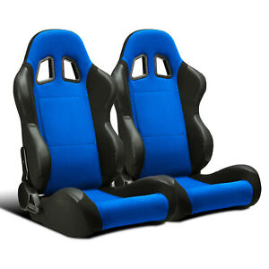 2 X Universal Blue Pineapple Cloth pvc Leather Left right Racing Bucket Seats