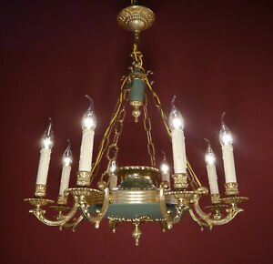 Empire Gold Chandelier 8 Arm Green Ceiling Lamp Fixtures Lustre Used
