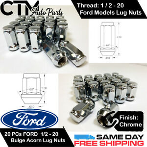20pc Ford Chrome Conical Seat 1 2 20 Wheel Lug Nuts Bulge Acorn For Ford Models