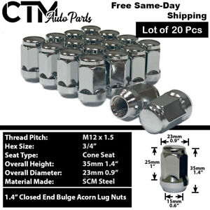 20pc Chevrolet Chrome Conical Seat 12x1 5 Wheel Lug Nuts Bulge Acorn For Chevy