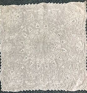 Vtg Antique Madeira Needle Lace Hand Embroidered Bridal Linen Handkerchief A03