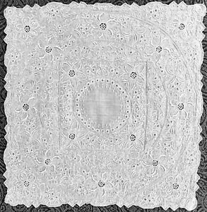 Vtg Antique Madeira Needle Lace Hand Embroidered Bridal Linen Handkerchief A02