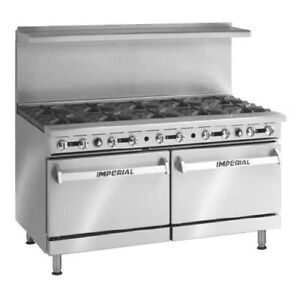 Imperial Range 60 Gas 10 Burner Range With 1 Convection 1 Standard Oven