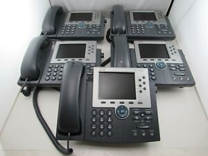 Lot Of 5 Cisco Cp 7965g Unified Ip Phone Sip Sccp Telephone Coil Handset