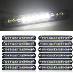 12pcs Car Strobe Flash Light 36w White 12 led Strips Side Bar Parts Accessories