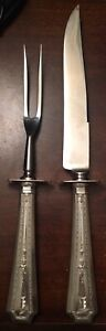 Durgin Gorham Sterling Silver Coflax Large 2 Piece Carving Set Stainless Blade