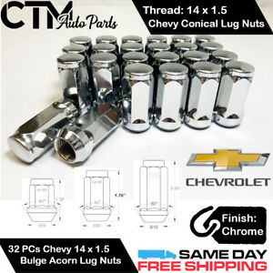 32pc Chevrolet Chrome Conical Seat 14x1 5 Wheel Lug Nuts Bulge Acorn For Chevy