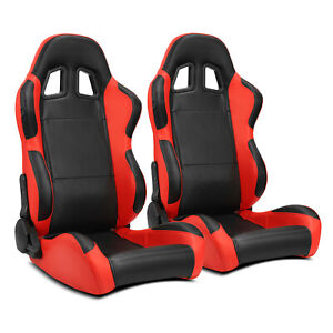 2 X Black side Red Carbon Fiber Pvc Leather L r Racing Bucket Seat slider