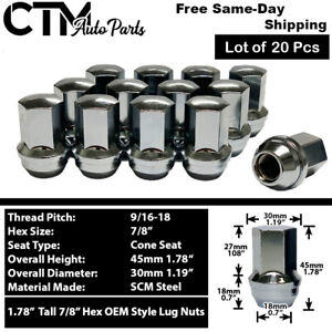 20 Dodge Ram Oem Factory Chrome 9 16 18 Wheel Lug Nut Conical Seat Fit Dodge Ram