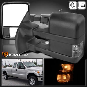 Fits 2003 2015 Ford F250 F350 Super Duty Manual Towing Side Mirrors Smoke Signal
