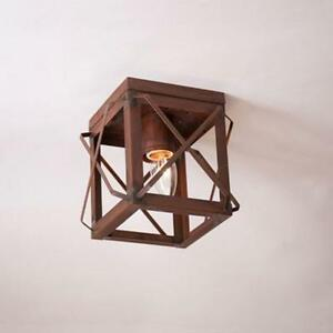 Single Ceiling Light With Folded Bars In Rustic Tin