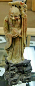 Antique Early 1900 S Chinese Carved Soapstone Shou Lao Immortal Figurine Statue