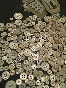 Huge Antique Vintage Buttons Lot Mother Of Pearl Mop Over 580 Buttons Very Good