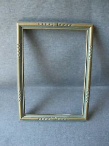 Antique Art Deco Gray Golden Carved Wooden Picture Frame