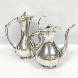 Vintage 1921 Emil Hermann Modernist Germany Sterling Coffee Tea Pot Set