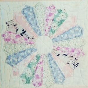 Vintage Feed Sack Pink Blue Dresden Plate Table Quilt Or Pillow Cover 15x15