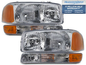 Headlights Pair 4pc Set Chrome Halogen Fits 99 2006 Gmc Sierra 2000 2006 Yukon