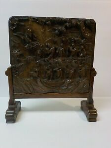 Antique Chinese Carved Hard Stone Table Screen Qing Dynasty Wooden Stand