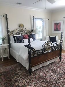 Brass Iron Four Poster Queen Bed With Exotic Wood Headboard Footboard