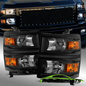For 2014 2015 Chevy Silverado 1500 Black Crystal Headlights Left Right Assembly