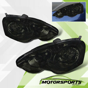 Fits 2002 2003 2004 Acura Rsx Dc5 Type S W Clear Reflector Smoke Headlights Set