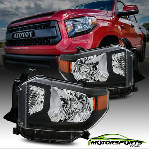 Fit 2014 2015 2016 2017 Toyota Tundra Black Truck Headlights Replacement Pair