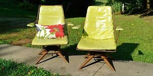 Pair Mid Century 1960 S Homecrest Vintage Chairs Orig Pad Swivel Rocking Vgc