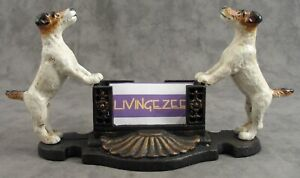Fox Terrier Jack Russell Cast Iron Business Card Holder For Desk Or Counter