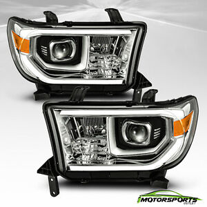 For 2007 2013 Toyota Tundra 08 17 Sequoia Chrome Led Projector Headlights Pair