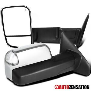 For 2002 2008 Dodge Ram Chrome Power Heat Towing Mirrors Led Signal Puddle Lamp