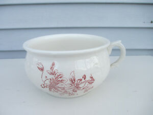 Antique Porcelain Transferware Chamber Pot Commode Potty With Floral Design