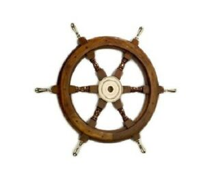 Vintage Wooden Ship Wheel 24 Brass Handle Nautical Maritime Wall Decorative