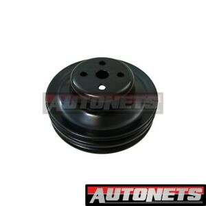 1965 66 Ford Mustang 289 Black Steel Water Pump Upper Pulley Double 2 Groove Sbf