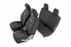Rough Country Neoprene Seat Cover Black fits 2007 2010 Jeep Wrangler Jk Set