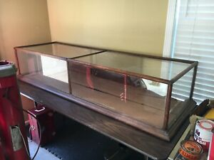 Vintage Oak Showcase Store Counter Glass Display Case
