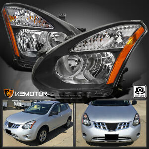 For 2008 2013 Nissan Rogue 14 15 Select Halogen Headlights Black Lamp Left right