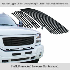 Fits 2003 2006 Gmc Sierra 1500 2500 3500 Stainless Black Billet Grille Combo