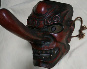 Antique Tengu Japanese Wood Carved Noh Mask Kyogen Kabuki Rare Antique Mayoke