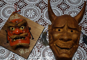 Antique Tengu Hannya Japanese Wood Carved Noh Mask Kyogen Kabuki Rare Japan 2set