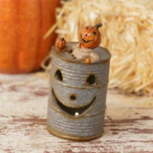 Oil Can New Small Scarecrow Pumpkin W Light