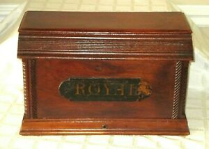 Antique Wood Sewing Machine Royal Coffin Cabinet Top Bonnet 17 5 All Org