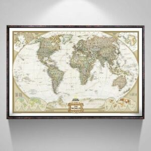 Large Antique Vintage World Map Office Supplies Detailed Poster Wall Retro Paper